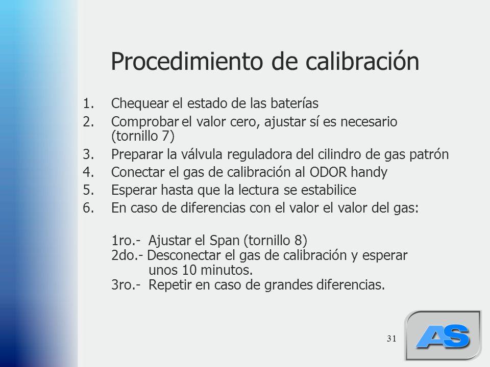 31 Procedimiento de calibración 1.Chequear el estado de las baterías 2.Comprobar el valor cero, ajustar sí es necesario (tornillo 7) 3.Preparar la válvula reguladora del cilindro de gas patrón 4.Conectar el gas de calibración al ODOR handy 5.Esperar hasta que la lectura se estabilice 6.En caso de diferencias con el valor el valor del gas: 1ro.- Ajustar el Span (tornillo 8) 2do.- Desconectar el gas de calibración y esperar unos 10 minutos.