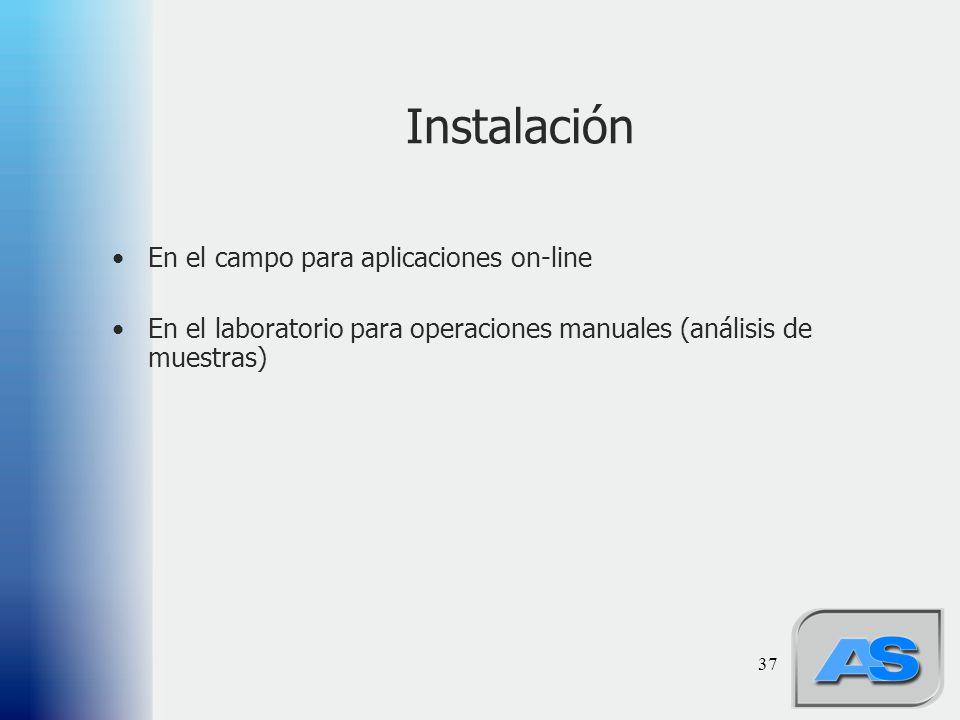 37 Instalación En el campo para aplicaciones on-line En el laboratorio para operaciones manuales (análisis de muestras)