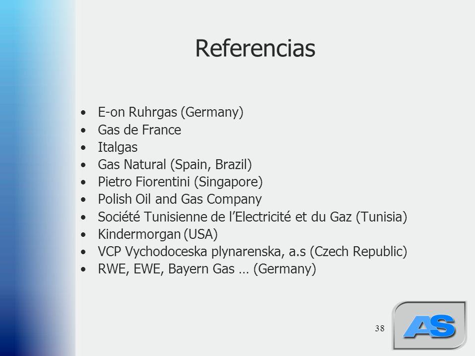 38 Referencias E-on Ruhrgas (Germany) Gas de France Italgas Gas Natural (Spain, Brazil) Pietro Fiorentini (Singapore) Polish Oil and Gas Company Société Tunisienne de lElectricité et du Gaz (Tunisia) Kindermorgan (USA) VCP Vychodoceska plynarenska, a.s (Czech Republic) RWE, EWE, Bayern Gas … (Germany)