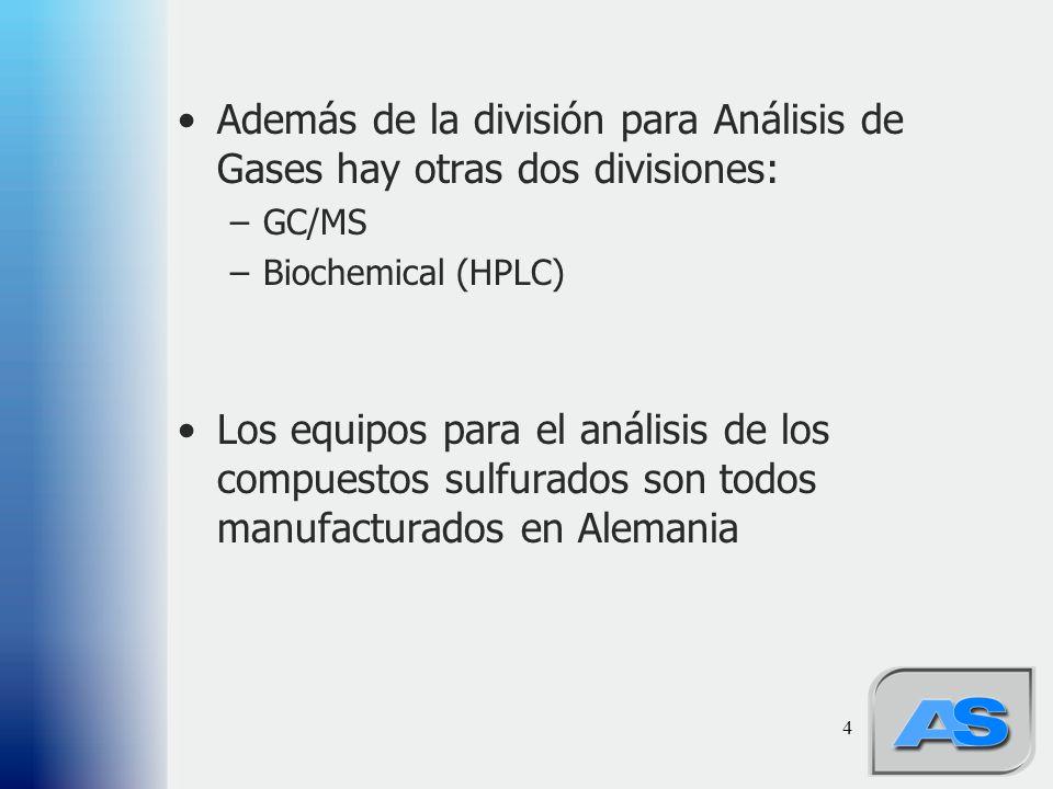 4 Además de la división para Análisis de Gases hay otras dos divisiones: –GC/MS –Biochemical (HPLC) Los equipos para el análisis de los compuestos sulfurados son todos manufacturados en Alemania