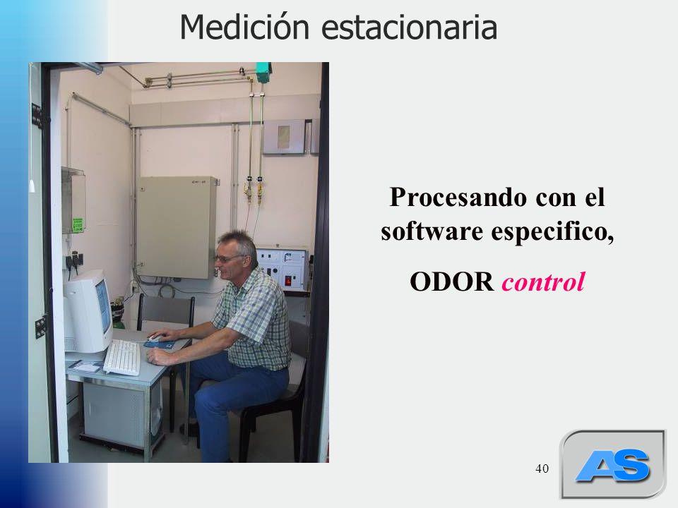 40 Medición estacionaria Procesando con el software especifico, ODOR control