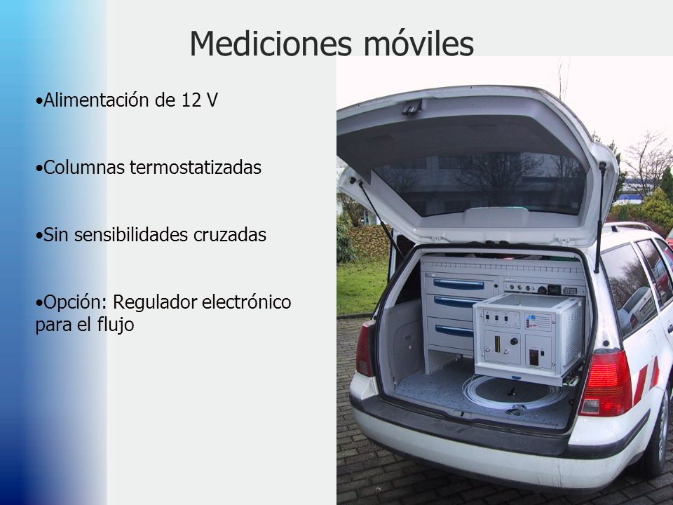 58 Mediciones móviles Alimentación de 12 V Columnas termostatizadas Sin sensibilidades cruzadas Opción: Regulador electrónico para el flujo