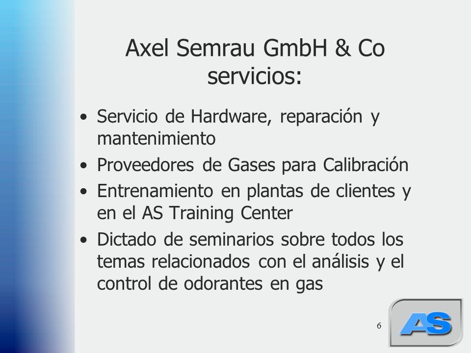 6 Axel Semrau GmbH & Co servicios: Servicio de Hardware, reparación y mantenimiento Proveedores de Gases para Calibración Entrenamiento en plantas de clientes y en el AS Training Center Dictado de seminarios sobre todos los temas relacionados con el análisis y el control de odorantes en gas
