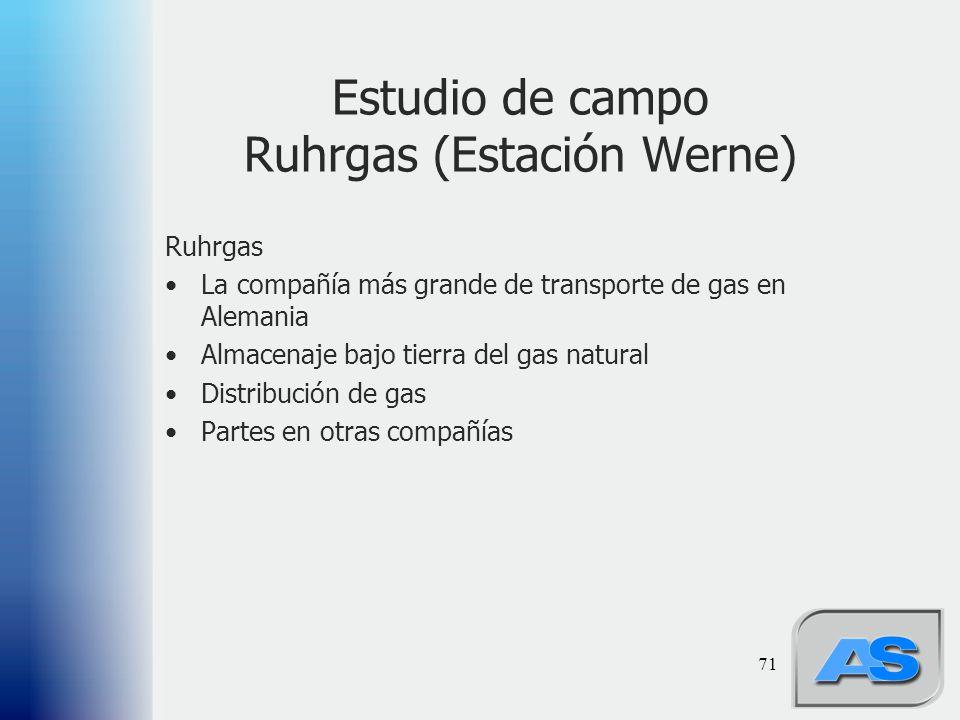 71 Estudio de campo Ruhrgas (Estación Werne) Ruhrgas La compañía más grande de transporte de gas en Alemania Almacenaje bajo tierra del gas natural Distribución de gas Partes en otras compañías