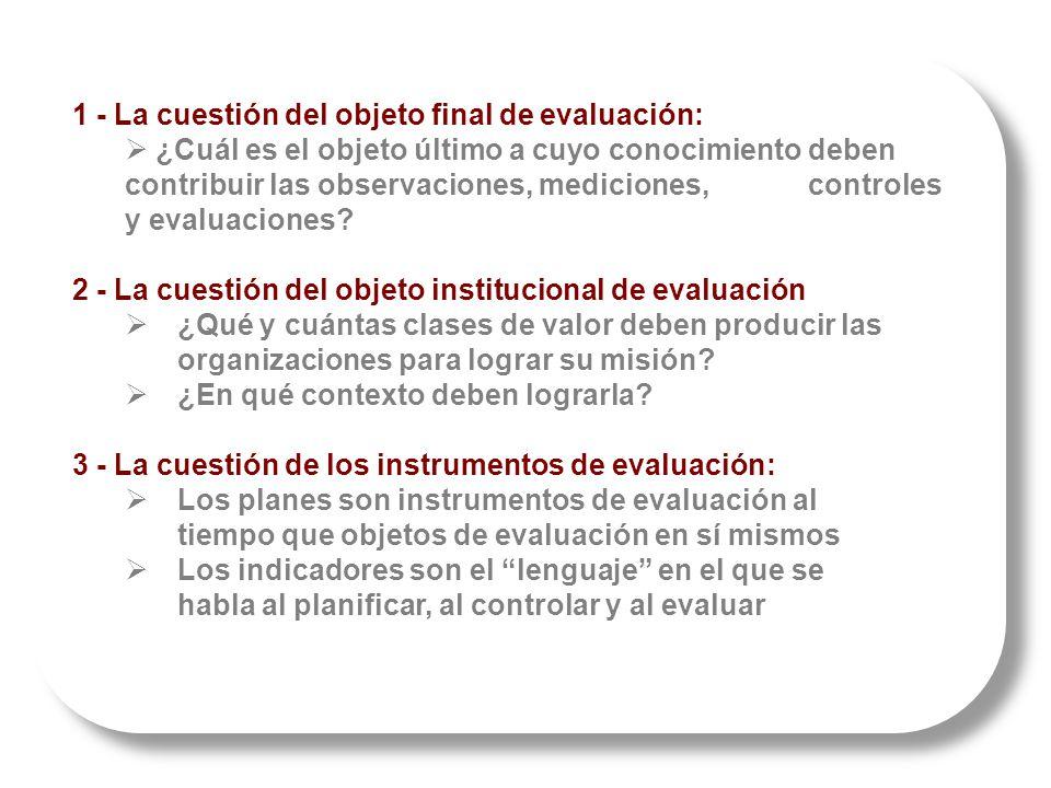 1 - La cuestión del objeto final de evaluación: ¿Cuál es el objeto último a cuyo conocimiento deben contribuir las observaciones, mediciones, controles y evaluaciones.
