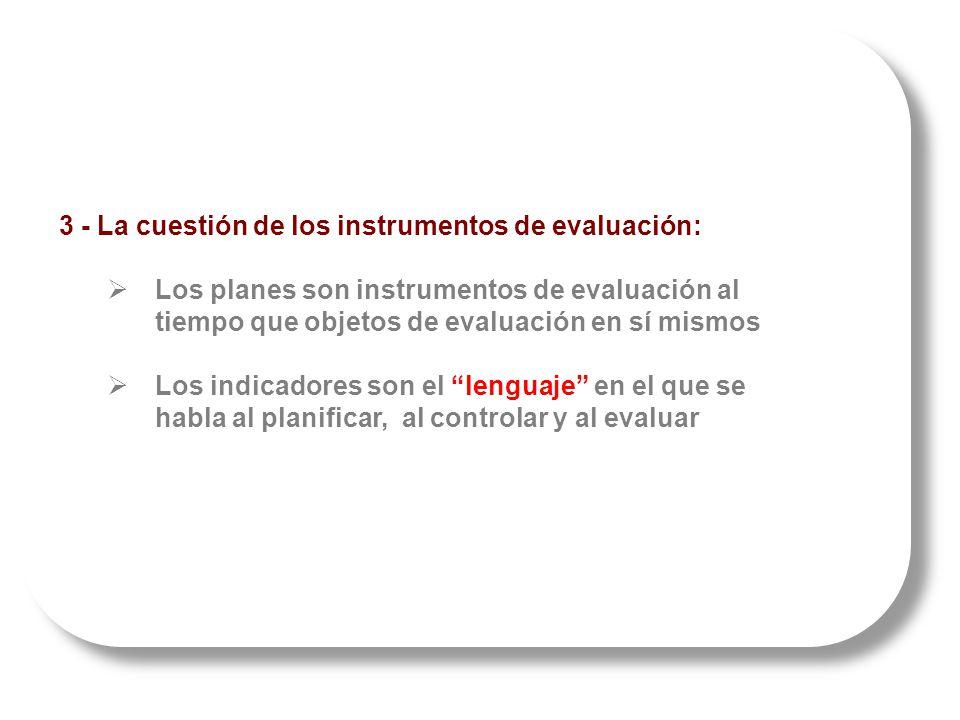 3 - La cuestión de los instrumentos de evaluación: Los planes son instrumentos de evaluación al tiempo que objetos de evaluación en sí mismos Los indicadores son el lenguaje en el que se habla al planificar, al controlar y al evaluar 3 - La cuestión de los instrumentos de evaluación: Los planes son instrumentos de evaluación al tiempo que objetos de evaluación en sí mismos Los indicadores son el lenguaje en el que se habla al planificar, al controlar y al evaluar