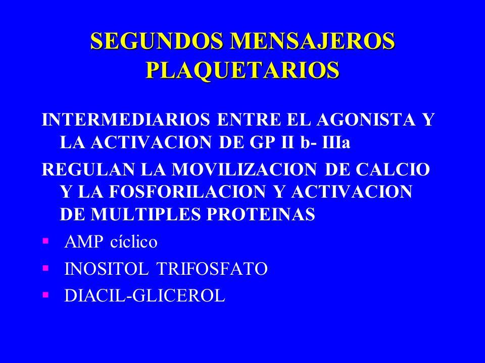 SEGUNDOS MENSAJEROS PLAQUETARIOS INTERMEDIARIOS ENTRE EL AGONISTA Y LA ACTIVACION DE GP II b- IIIa REGULAN LA MOVILIZACION DE CALCIO Y LA FOSFORILACIO