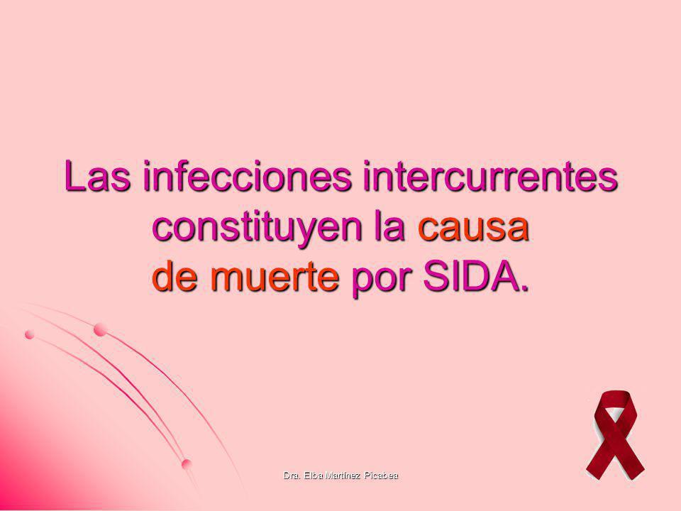Dra. Elba Martínez Picabea Las infecciones intercurrentes constituyen la causa de muerte por SIDA.