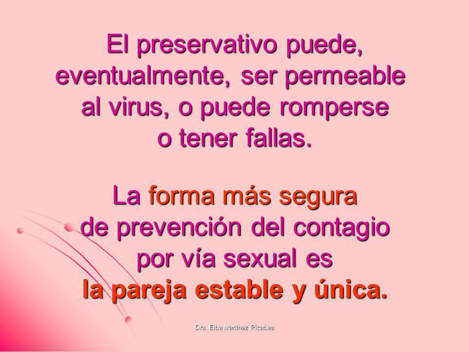 Dra. Elba Martínez Picabea La forma más segura de prevención del contagio por vía sexual es la pareja estable y única. El preservativo puede, eventual