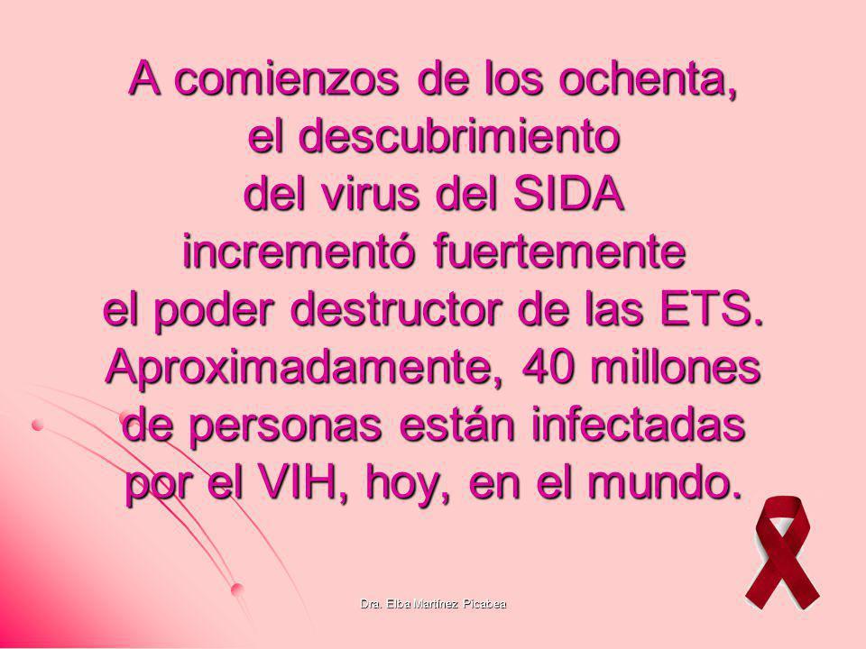 Dra. Elba Martínez Picabea A comienzos de los ochenta, el descubrimiento del virus del SIDA incrementó fuertemente el poder destructor de las ETS. Apr