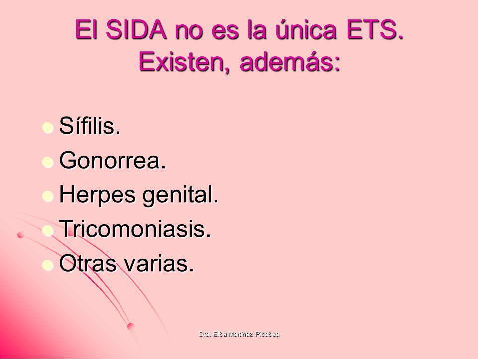 Dra. Elba Martínez Picabea El SIDA no es la única ETS. Existen, además: Sífilis. Sífilis. Gonorrea. Gonorrea. Herpes genital. Herpes genital. Tricomon