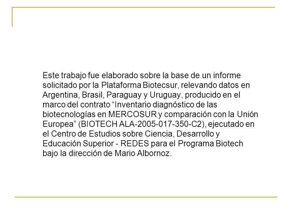 Este trabajo fue elaborado sobre la base de un informe solicitado por la Plataforma Biotecsur, relevando datos en Argentina, Brasil, Paraguay y Uruguay, producido en el marco del contrato Inventario diagnóstico de las biotecnologías en MERCOSUR y comparación con la Unión Europea (BIOTECH ALA-2005-017-350-C2), ejecutado en el Centro de Estudios sobre Ciencia, Desarrollo y Educación Superior - REDES para el Programa Biotech bajo la dirección de Mario Albornoz.