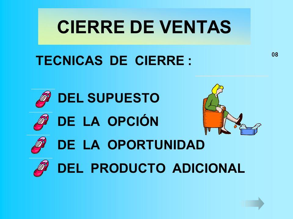 CIERRE DE VENTAS TECNICAS DE CIERRE : DEL SUPUESTO DE LA OPCIÓN DE LA OPORTUNIDAD DEL PRODUCTO ADICIONAL 08
