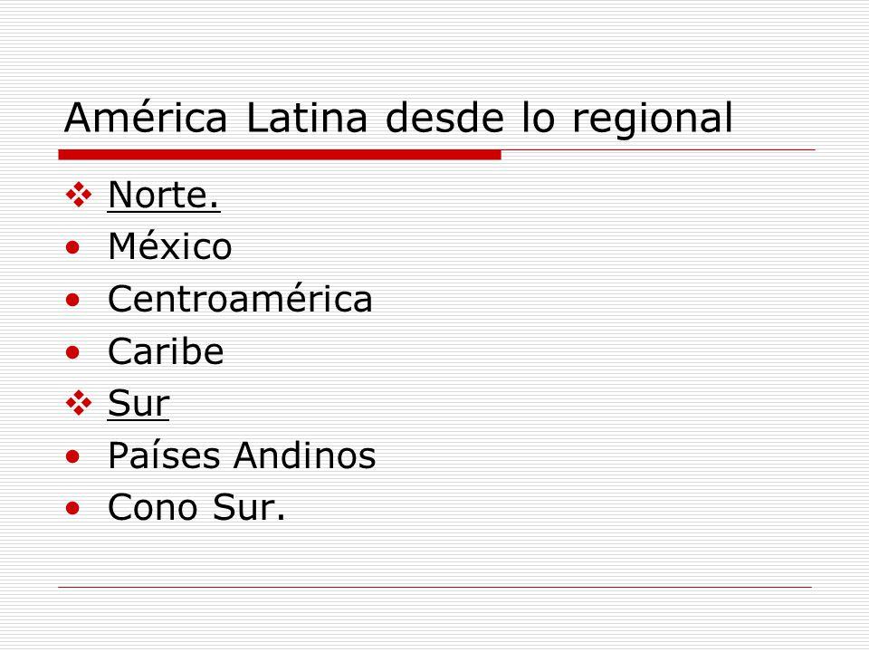 América Latina desde lo regional Norte. México Centroamérica Caribe Sur Países Andinos Cono Sur.