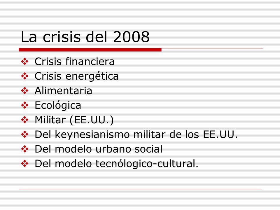 La crisis del 2008 Crisis financiera Crisis energética Alimentaria Ecológica Militar (EE.UU.) Del keynesianismo militar de los EE.UU. Del modelo urban