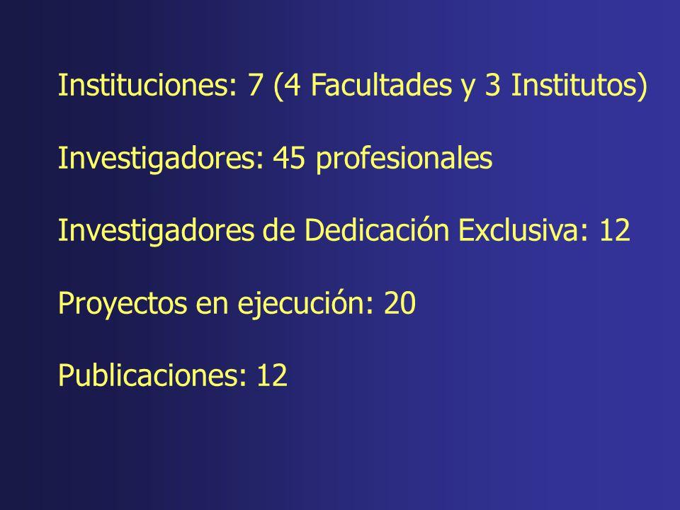 Instituciones: 7 (4 Facultades y 3 Institutos) Investigadores: 45 profesionales Investigadores de Dedicación Exclusiva: 12 Proyectos en ejecución: 20