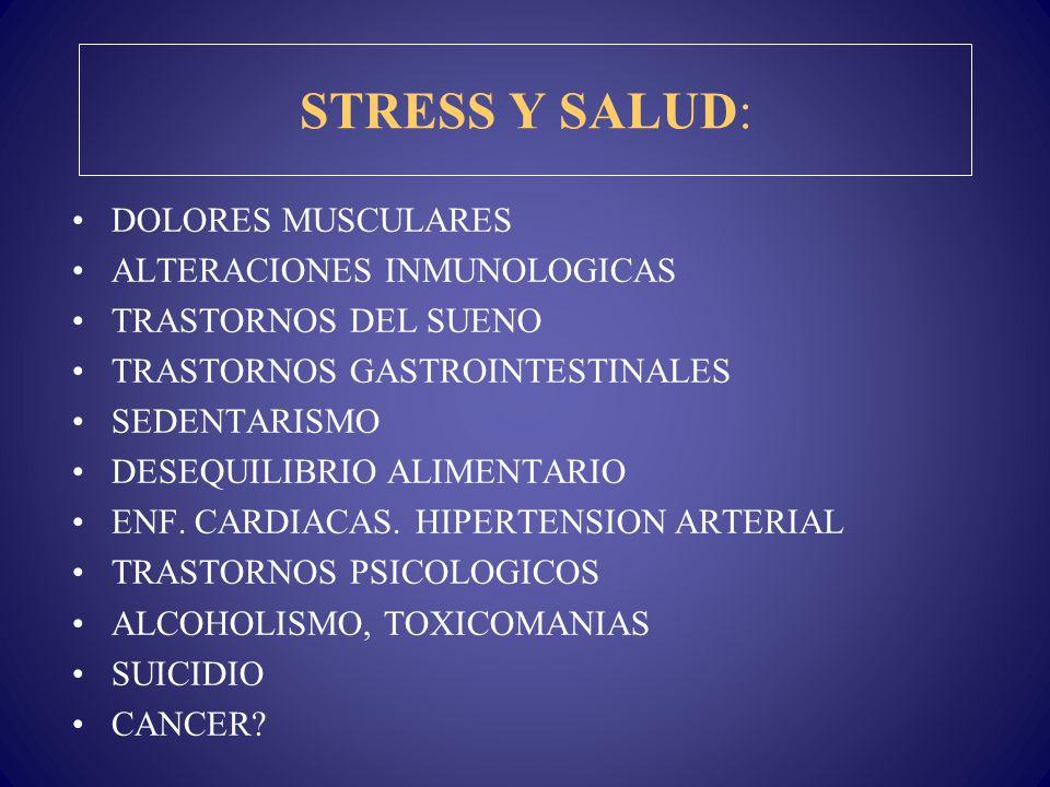 STRESS Y SALUD: DOLORES MUSCULARES ALTERACIONES INMUNOLOGICAS TRASTORNOS DEL SUENO TRASTORNOS GASTROINTESTINALES SEDENTARISMO DESEQUILIBRIO ALIMENTARI