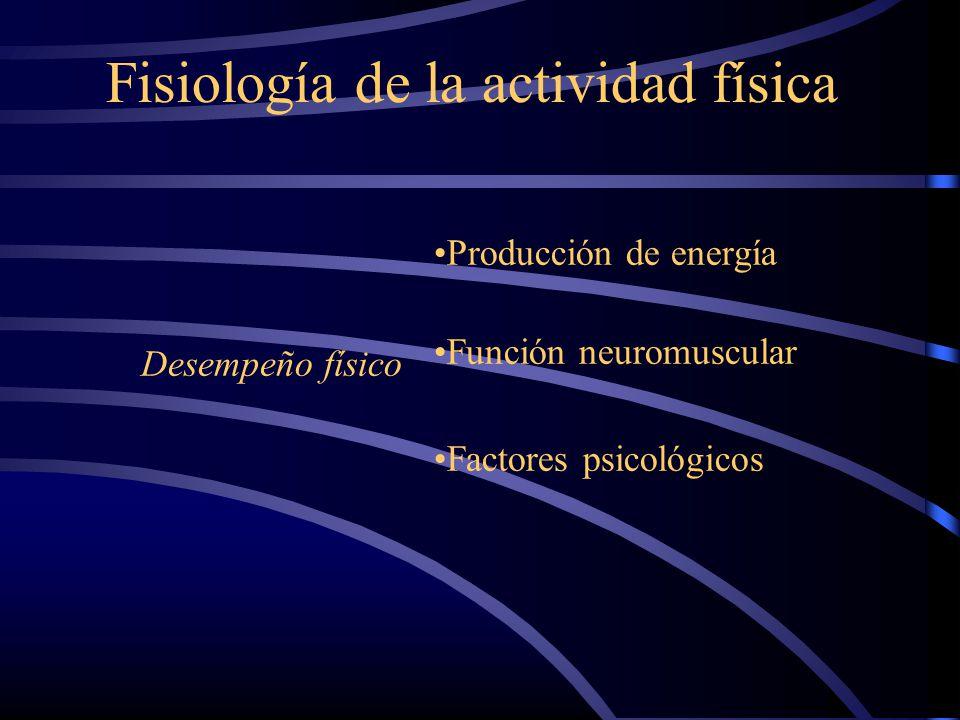 Fisiología de la actividad física Desempeño físico Producción de energía Función neuromuscular Factores psicológicos