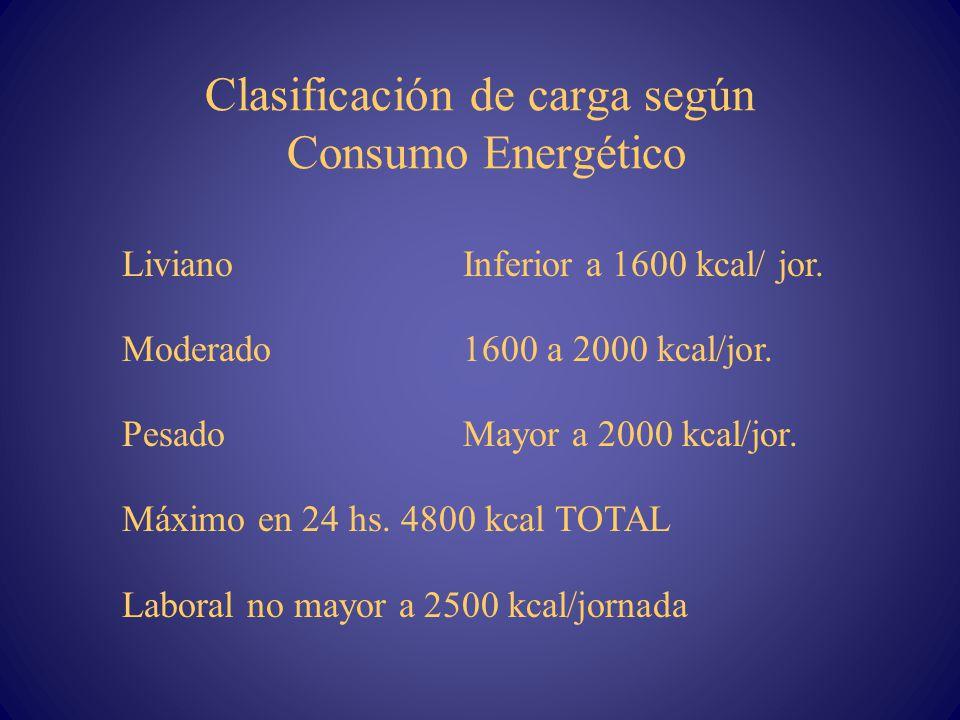 Clasificación de carga según Consumo Energético LivianoInferior a 1600 kcal/ jor. Moderado1600 a 2000 kcal/jor. Pesado Mayor a 2000 kcal/jor. Máximo e