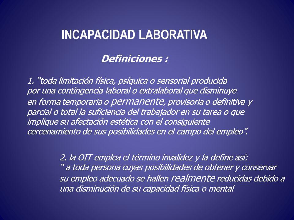 INCAPACIDAD LABORATIVA 1. toda limitación física, psíquica o sensorial producida por una contingencia laboral o extralaboral que disminuye en forma te