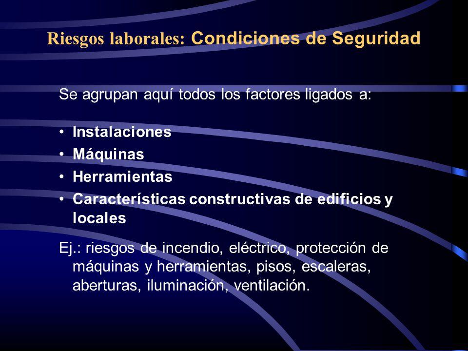 Riesgos laborales: Condiciones de Seguridad Se agrupan aquí todos los factores ligados a: Instalaciones Máquinas Herramientas Características construc