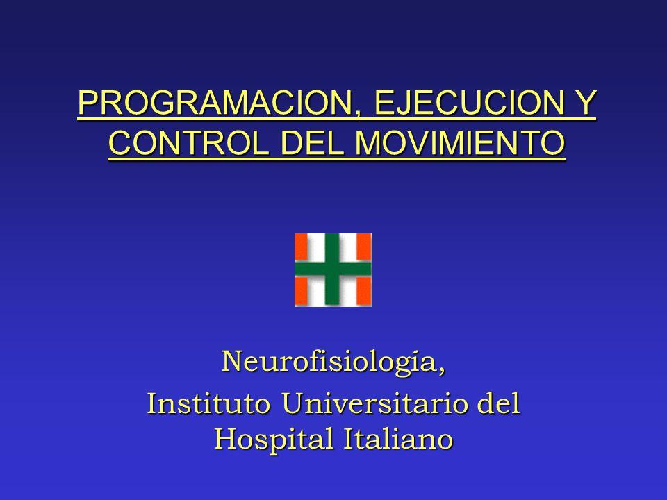 PROGRAMACION, EJECUCION Y CONTROL DEL MOVIMIENTO Neurofisiología, Instituto Universitario del Hospital Italiano