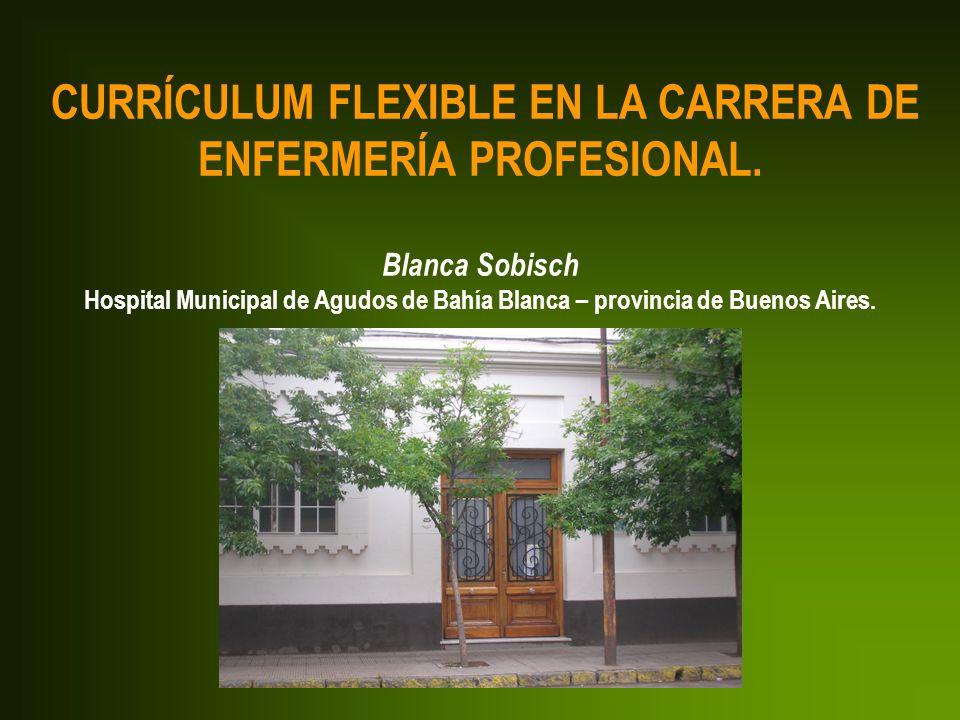 CURRÍCULUM FLEXIBLE EN LA CARRERA DE ENFERMERÍA PROFESIONAL. Blanca Sobisch Hospital Municipal de Agudos de Bahía Blanca – provincia de Buenos Aires.