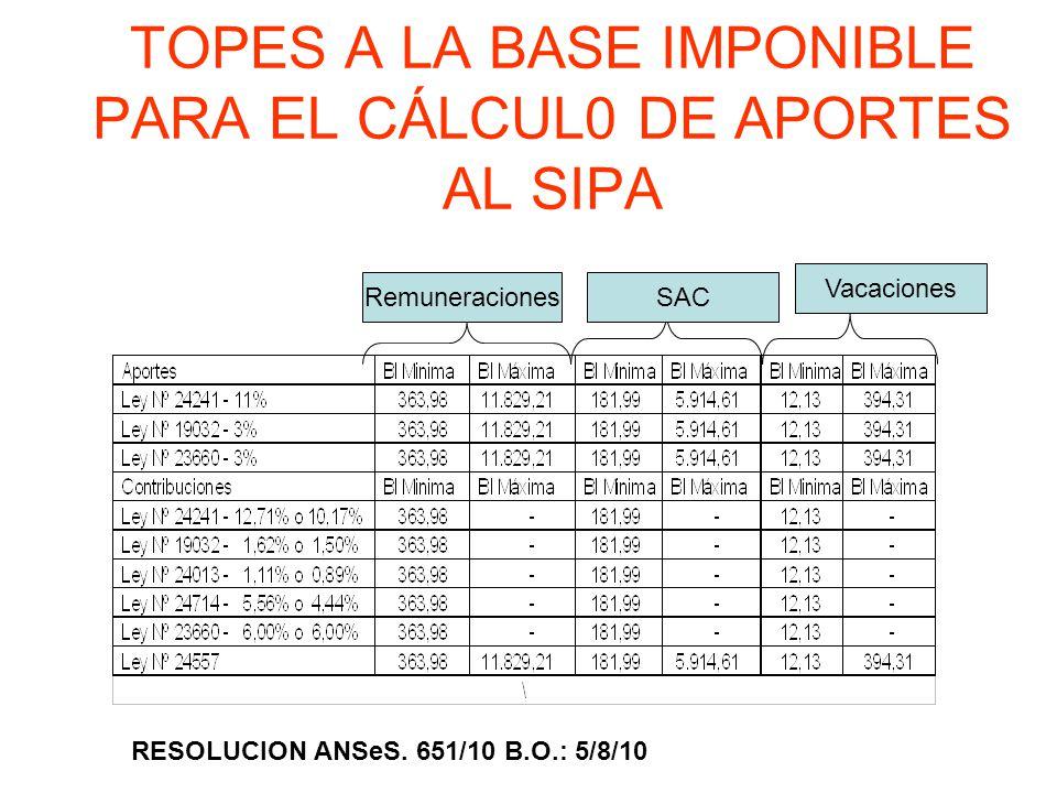 TOPES A LA BASE IMPONIBLE PARA EL CÁLCUL0 DE APORTES AL SIPA RESOLUCION ANSeS. 651/10 B.O.: 5/8/10 RemuneracionesSAC Vacaciones