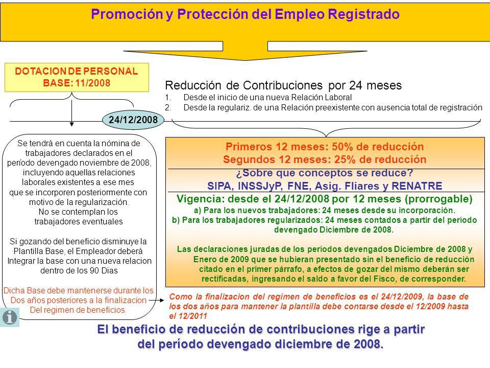 Promoción y Protección del Empleo Registrado DOTACION DE PERSONAL BASE: 11/2008 24/12/2008 Reducción de Contribuciones por 24 meses 1.Desde el inicio
