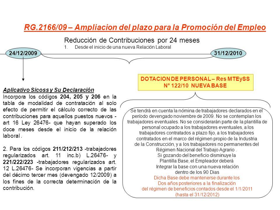 RG.2166/09 – Ampliacion del plazo para la Promoción del Empleo 24/12/2009 Reducción de Contribuciones por 24 meses 1.Desde el inicio de una nueva Rela