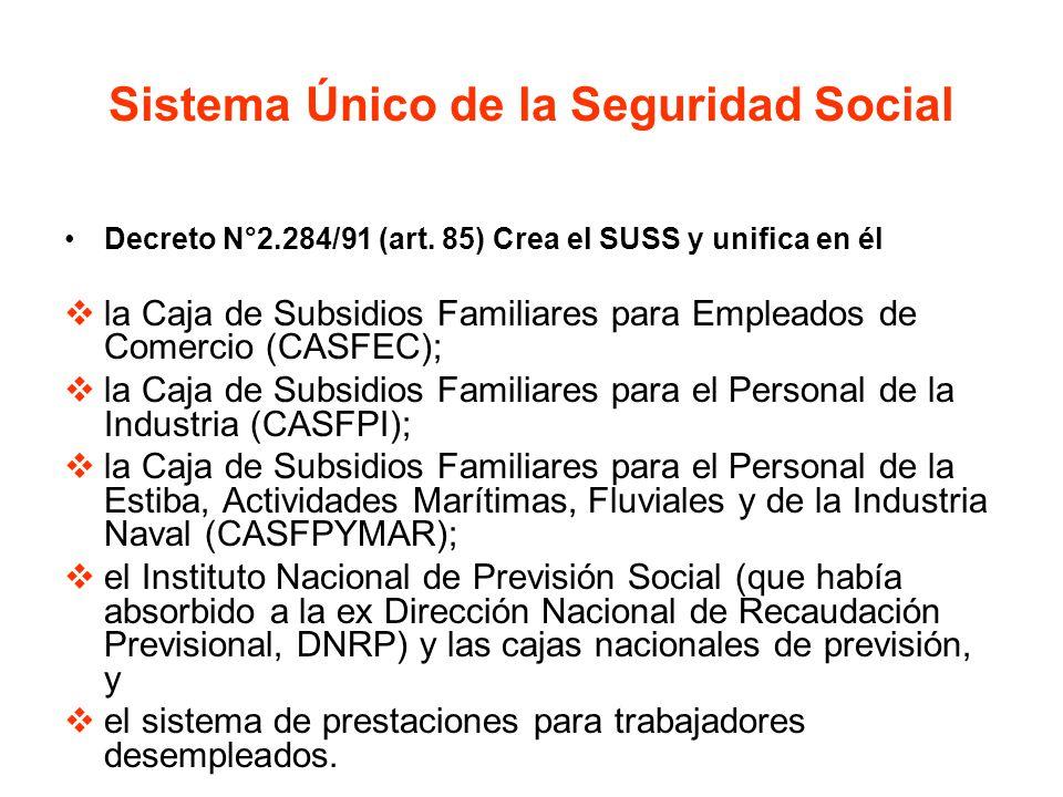 Sistema Único de la Seguridad Social Decreto N°2.284/91 (art. 85) Crea el SUSS y unifica en él la Caja de Subsidios Familiares para Empleados de Comer