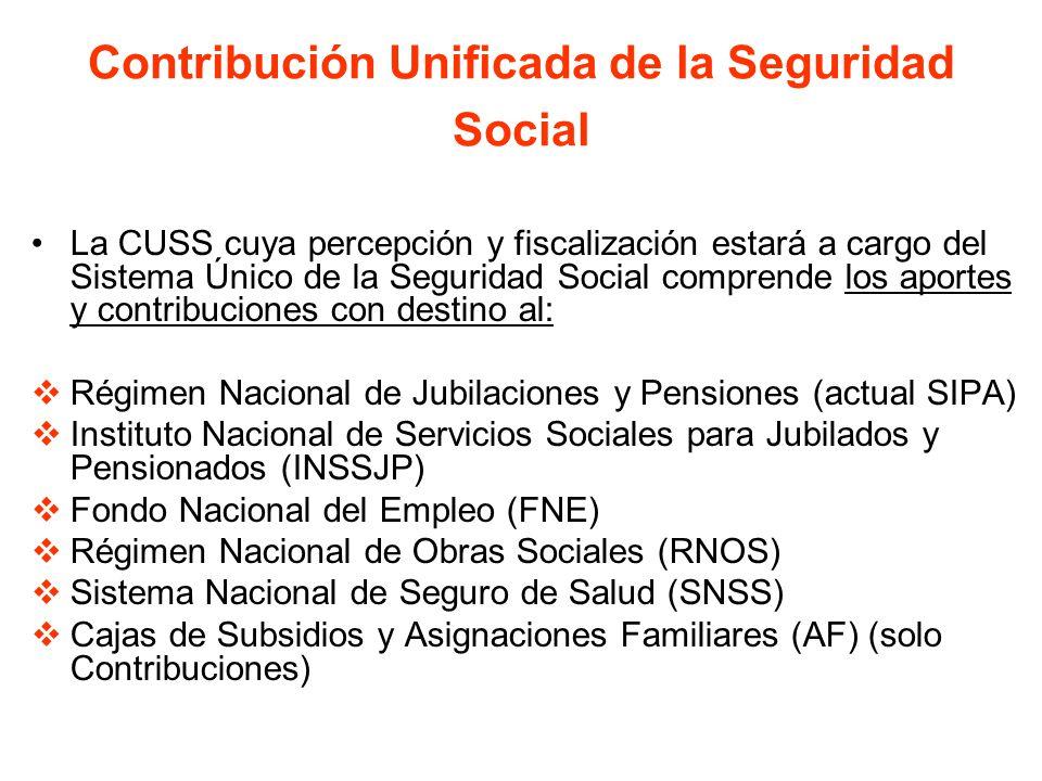 Contribución Unificada de la Seguridad Social La CUSS cuya percepción y fiscalización estará a cargo del Sistema Único de la Seguridad Social comprend