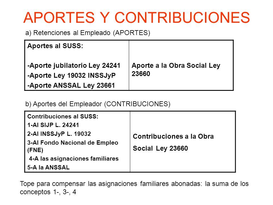 APORTES Y CONTRIBUCIONES Aportes al SUSS: -Aporte jubilatorio Ley 24241 -Aporte Ley 19032 INSSJyP -Aporte ANSSAL Ley 23661 Aporte a la Obra Social Ley