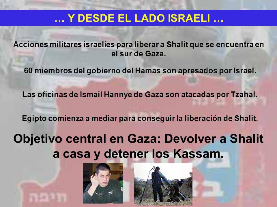 … Y DESDE EL LADO ISRAELI … Acciones militares israelíes para liberar a Shalit que se encuentra en el sur de Gaza. 60 miembros del gobierno del Hamas