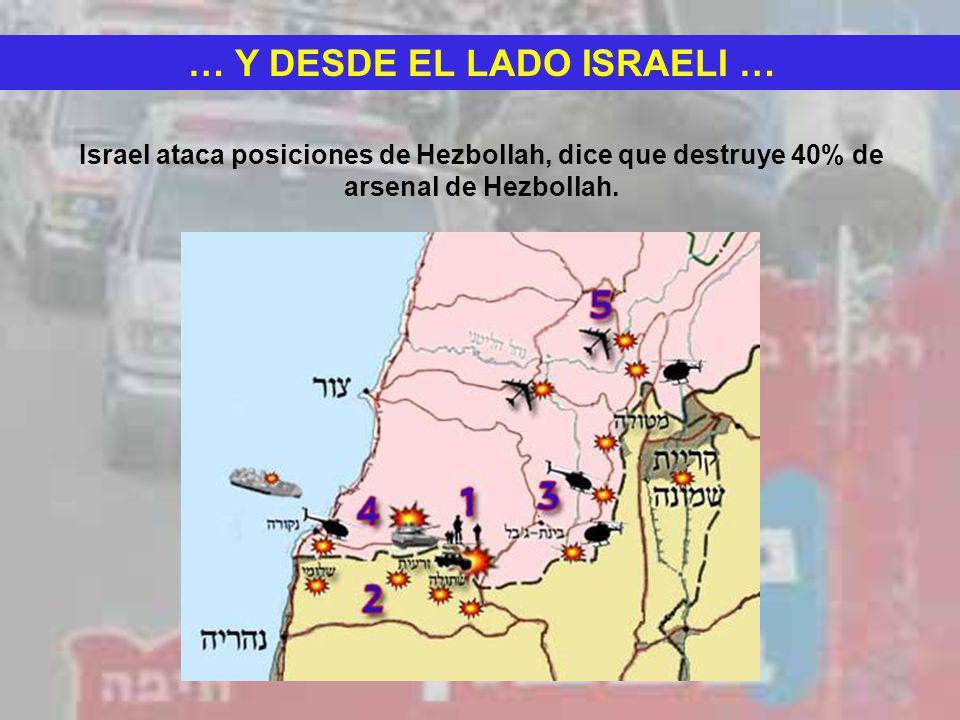 … Y DESDE EL LADO ISRAELI … Israel ataca posiciones de Hezbollah, dice que destruye 40% de arsenal de Hezbollah.