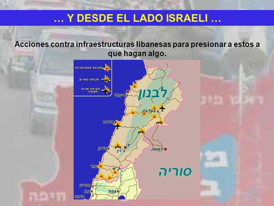 … Y DESDE EL LADO ISRAELI … Acciones contra infraestructuras libanesas para presionar a estos a que hagan algo.