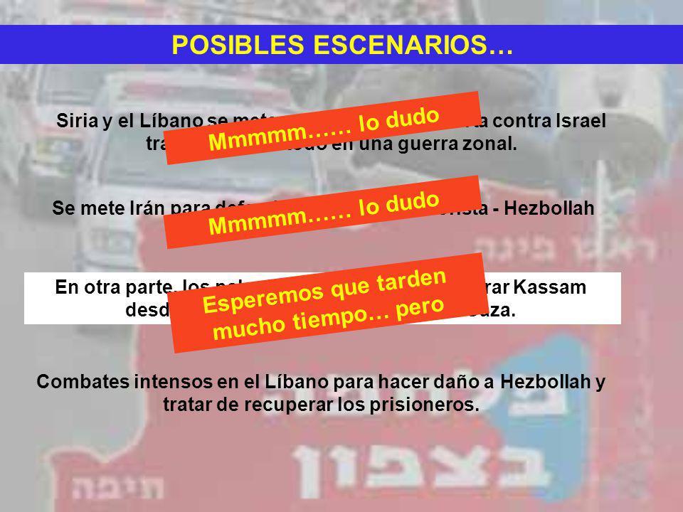 POSIBLES ESCENARIOS… Siria y el Líbano se meten en una guerra abierta contra Israel transformando todo en una guerra zonal. Se mete Irán para defender
