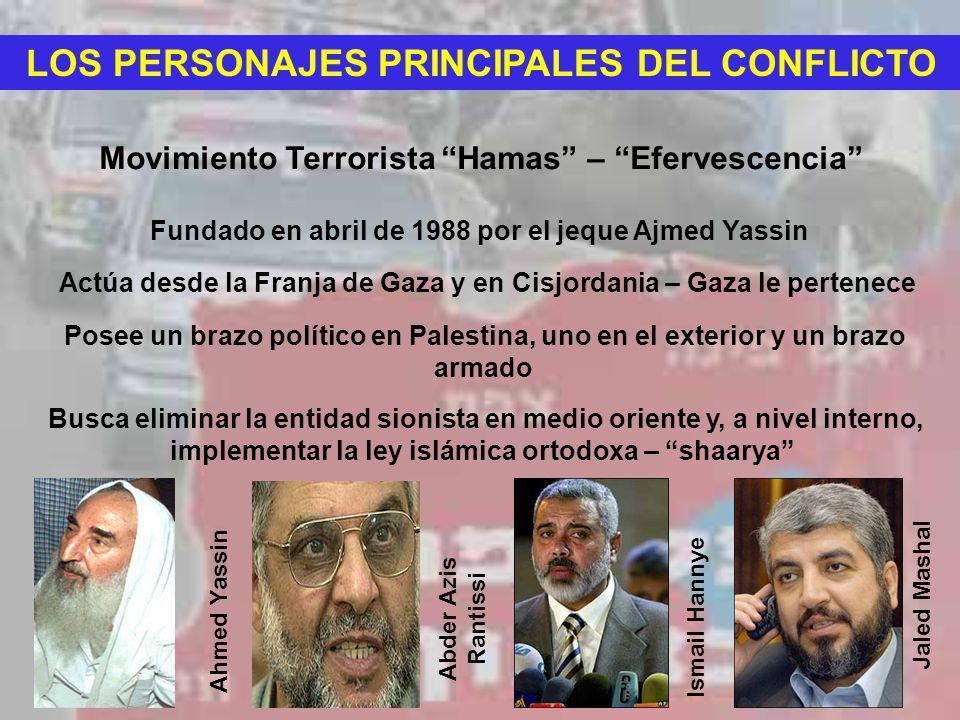 LOS PERSONAJES PRINCIPALES DEL CONFLICTO Movimiento Terrorista Hamas – Efervescencia Fundado en abril de 1988 por el jeque Ajmed Yassin Actúa desde la