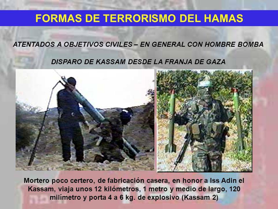 FORMAS DE TERRORISMO DEL HAMAS ATENTADOS A OBJETIVOS CIVILES – EN GENERAL CON HOMBRE BOMBA DISPARO DE KASSAM DESDE LA FRANJA DE GAZA Mortero poco cert
