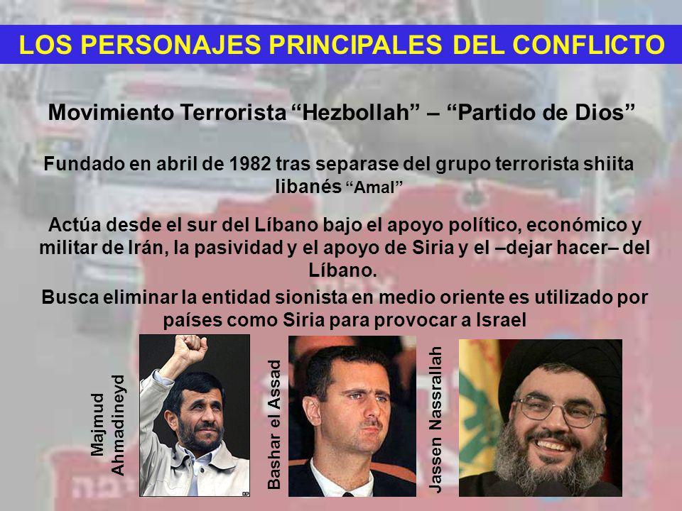 LOS PERSONAJES PRINCIPALES DEL CONFLICTO Movimiento Terrorista Hezbollah – Partido de Dios Fundado en abril de 1982 tras separase del grupo terrorista