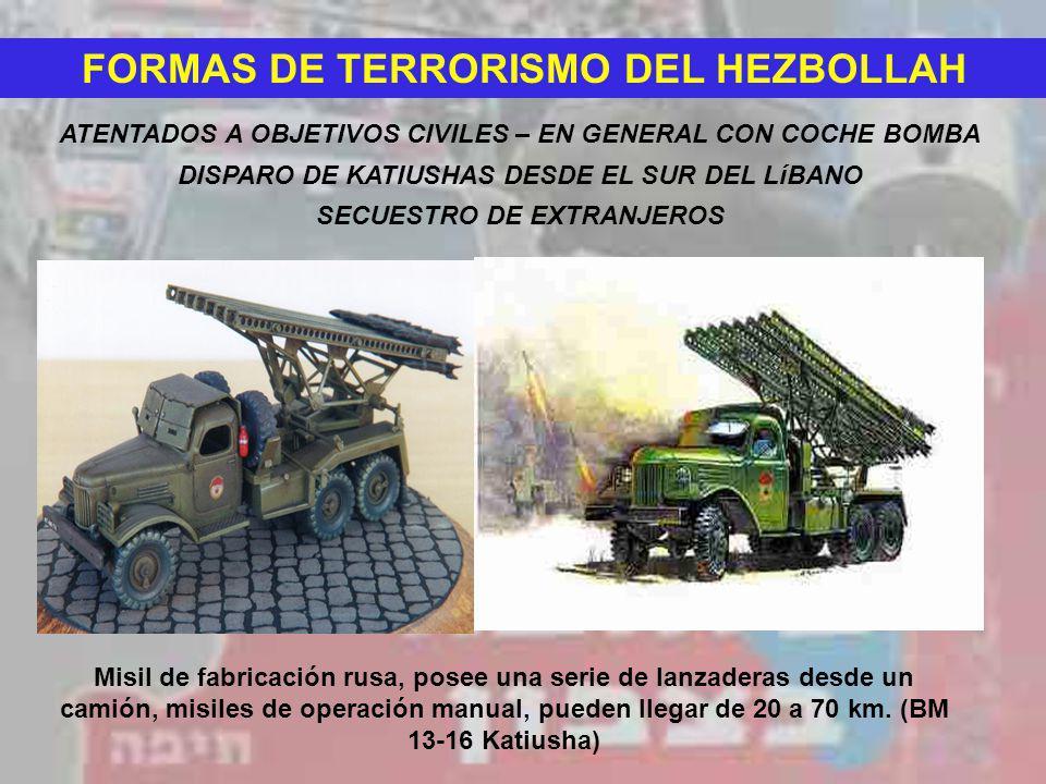 FORMAS DE TERRORISMO DEL HEZBOLLAH ATENTADOS A OBJETIVOS CIVILES – EN GENERAL CON COCHE BOMBA DISPARO DE KATIUSHAS DESDE EL SUR DEL LíBANO Misil de fa