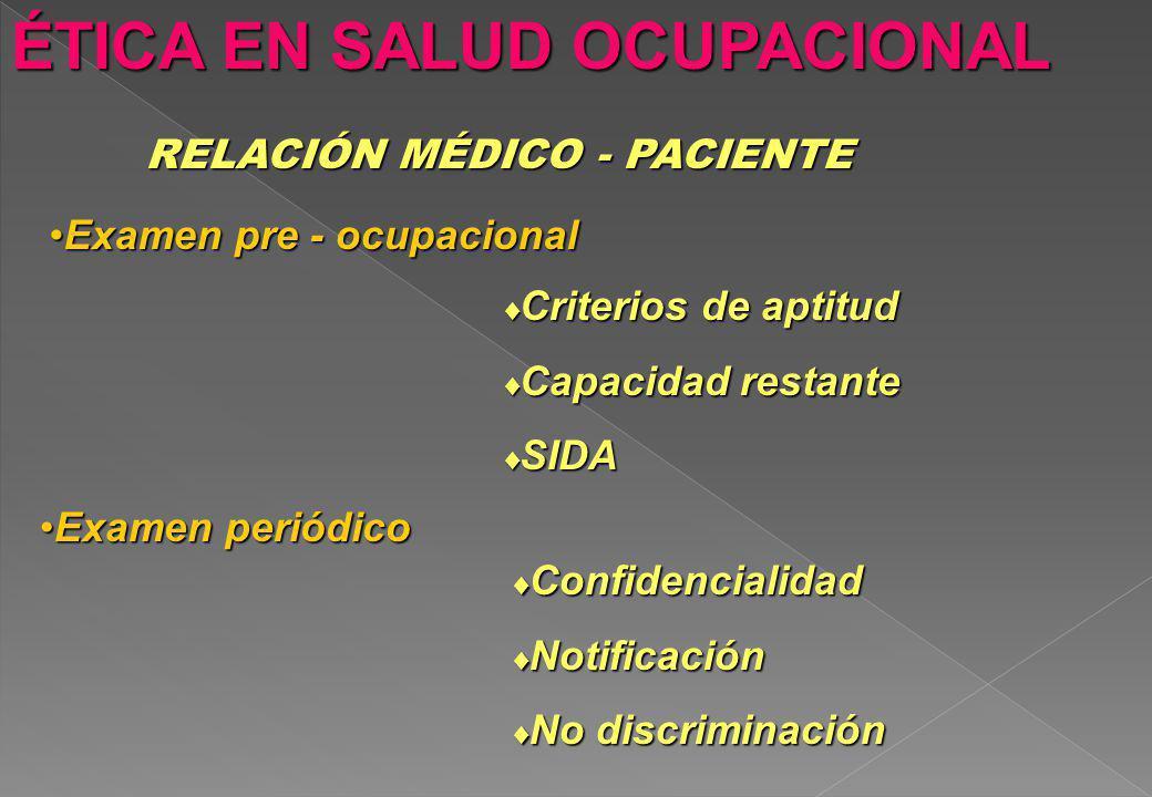 ÉTICA EN SALUD OCUPACIONAL RELACIÓN MÉDICO - PACIENTE Examen pre - ocupacionalExamen pre - ocupacional Criterios de aptitud Criterios de aptitud Capac