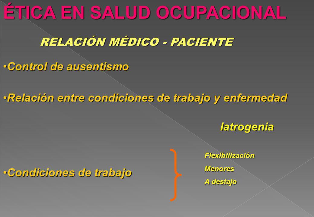 ÉTICA EN SALUD OCUPACIONAL RELACIÓN MÉDICO - PACIENTE Relación entre condiciones de trabajo y enfermedadRelación entre condiciones de trabajo y enferm