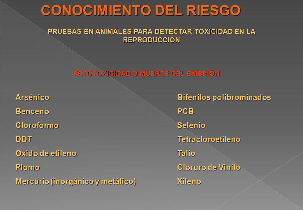 CONOCIMIENTO DEL RIESGO PRUEBAS EN ANIMALES PARA DETECTAR TOXICIDAD EN LA REPRODUCCIÓN FETOTOXICIDAD O MUERTE DEL EMBRIÓN ArsénicoBencenoCloroformoDDT