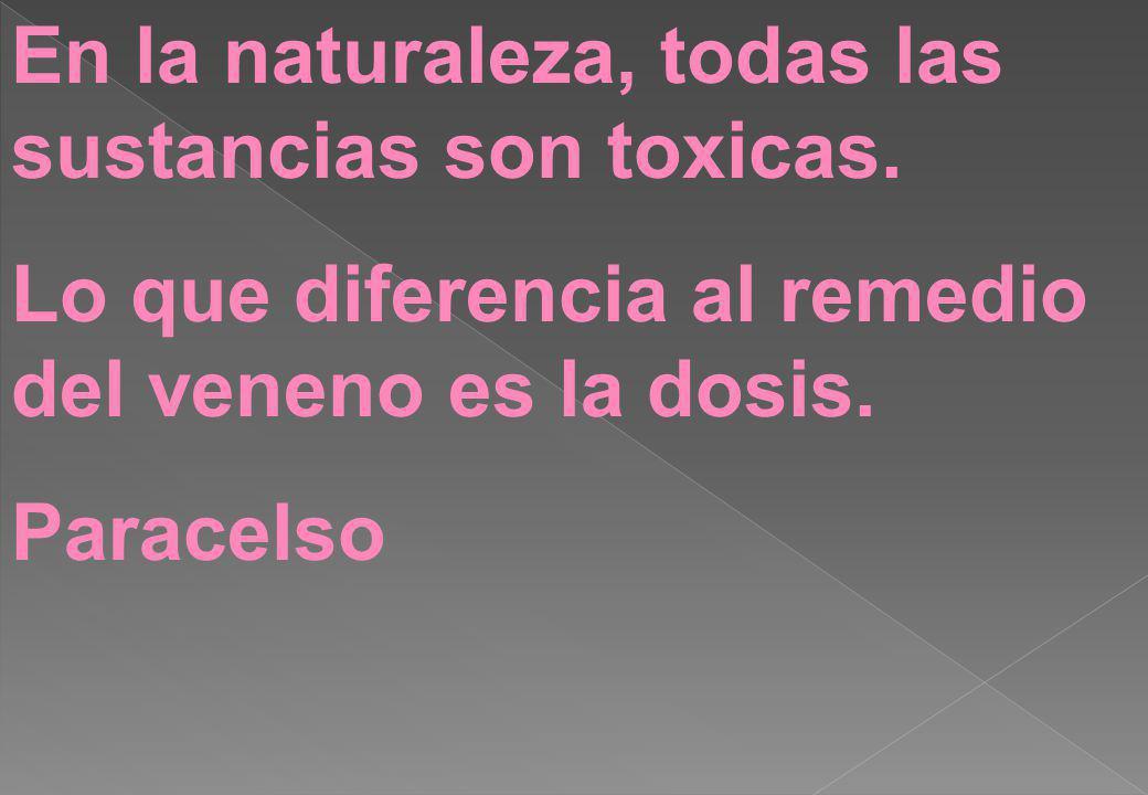 En la naturaleza, todas las sustancias son toxicas. Lo que diferencia al remedio del veneno es la dosis. Paracelso