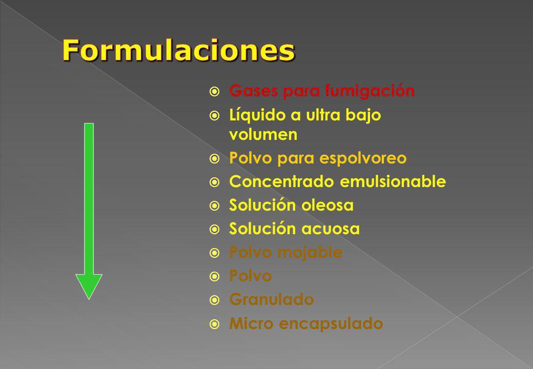 Gases para fumigación Líquido a ultra bajo volumen Polvo para espolvoreo Concentrado emulsionable Solución oleosa Solución acuosa Polvo mojable Polvo