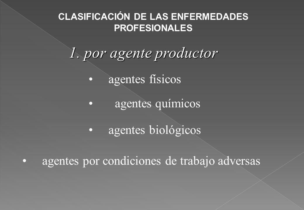 CLASIFICACIÓN DE LAS ENFERMEDADES PROFESIONALES 1. por agente productor agentes físicos agentes químicos agentes biológicos agentes por condiciones de