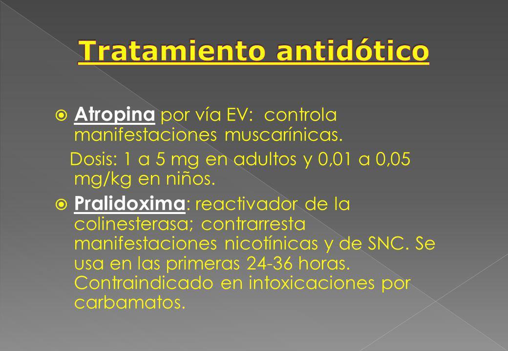 Atropina por vía EV: controla manifestaciones muscarínicas. Dosis: 1 a 5 mg en adultos y 0,01 a 0,05 mg/kg en niños. Pralidoxima : reactivador de la c