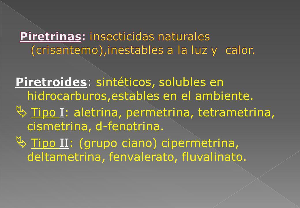 Piretroides: sintéticos, solubles en hidrocarburos,estables en el ambiente. Tipo I: aletrina, permetrina, tetrametrina, cismetrina, d-fenotrina. Tipo
