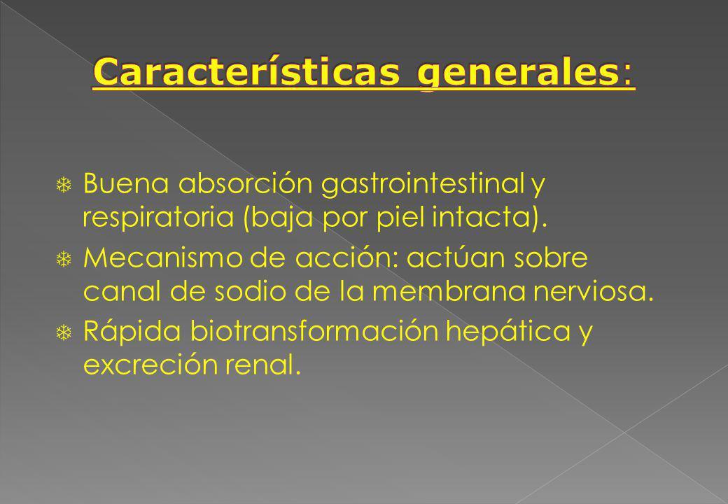 Buena absorción gastrointestinal y respiratoria (baja por piel intacta). Mecanismo de acción: actúan sobre canal de sodio de la membrana nerviosa. Ráp